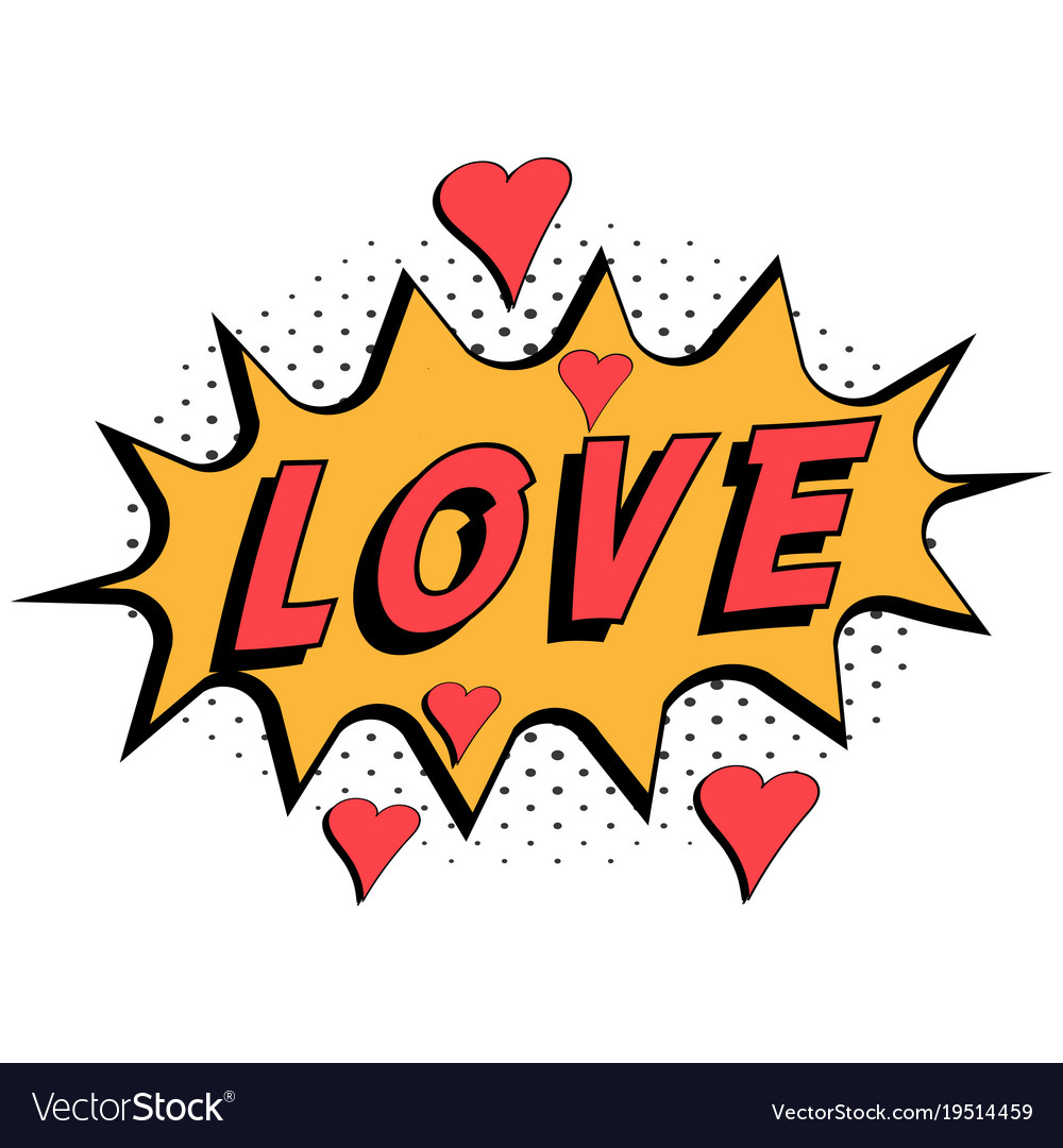 Comic book word love with hearts pop art style