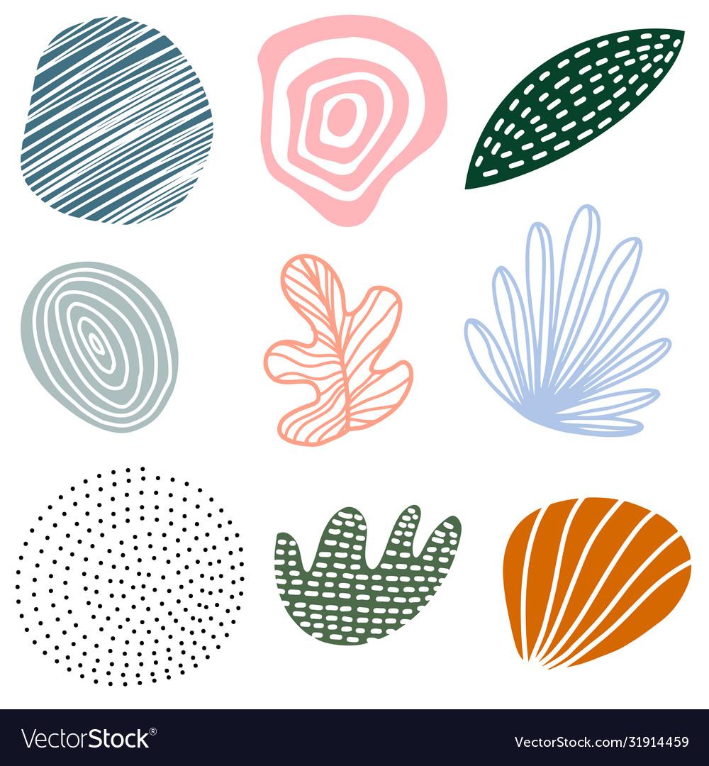 Hand drawn set various abstract shapes and