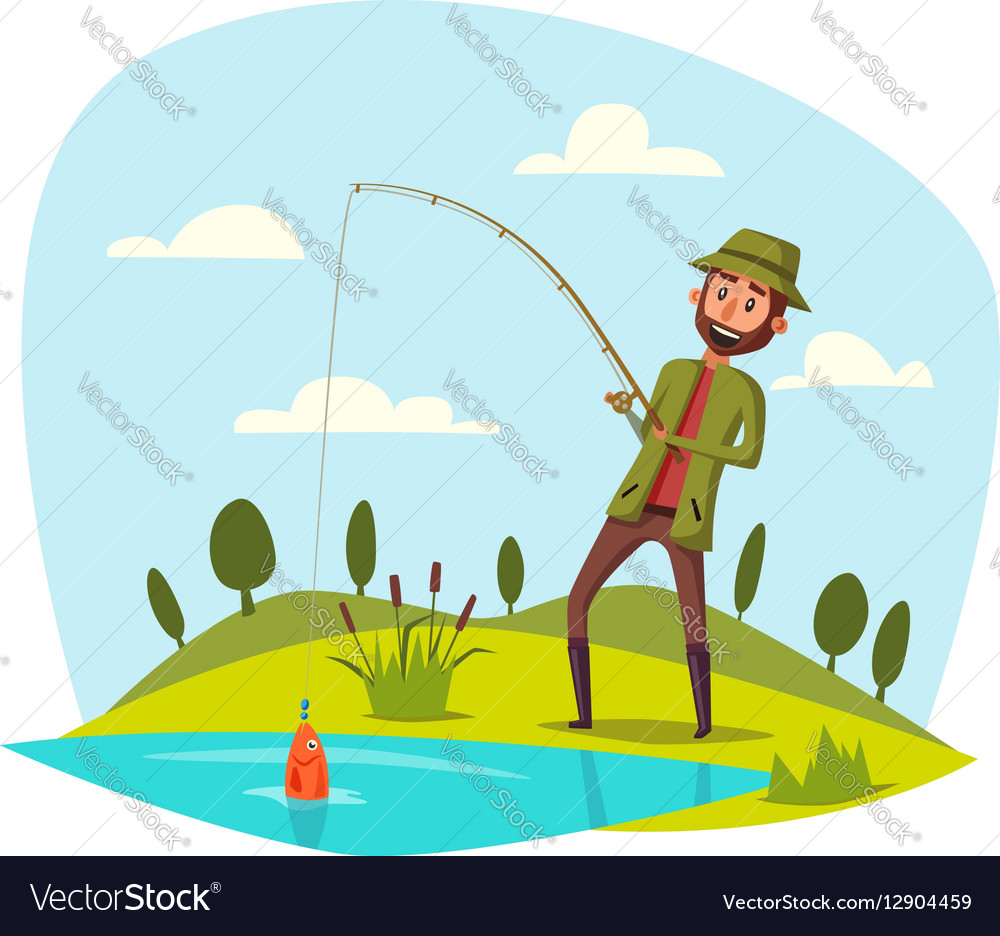 Man Fishing With Rod Catching Fish On Hook Vector Image
