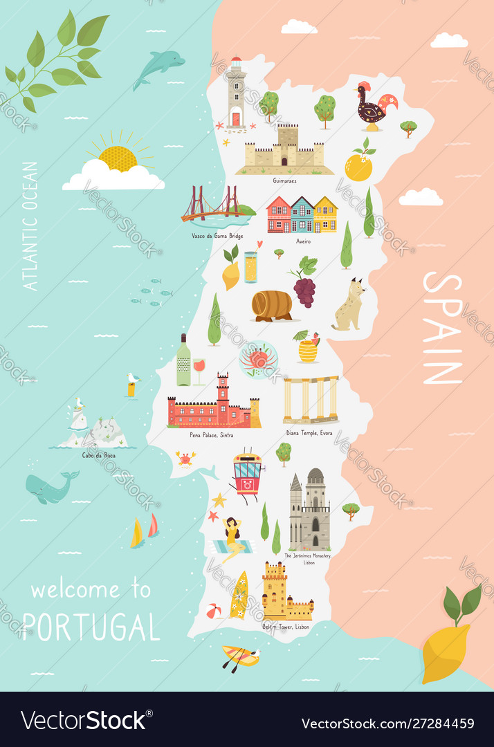 Map portugal with icons cities