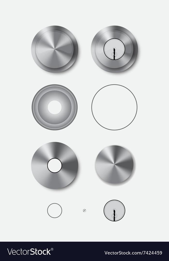 Metal Round Door Handle And Door Lock Vector Image