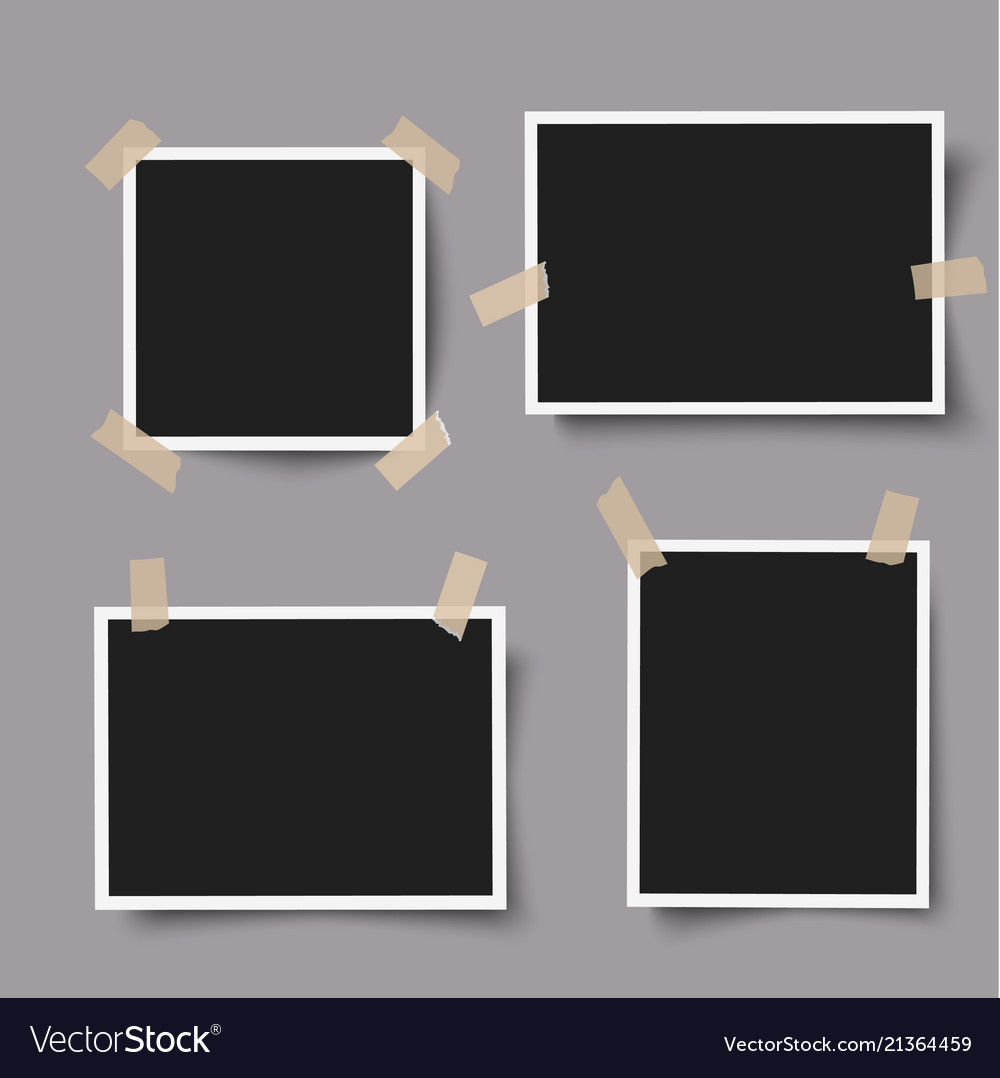 Realistic photo frames with adhesive tape