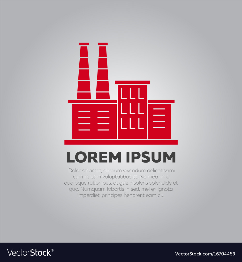 Red factory logo design - industry logo template Vector Image