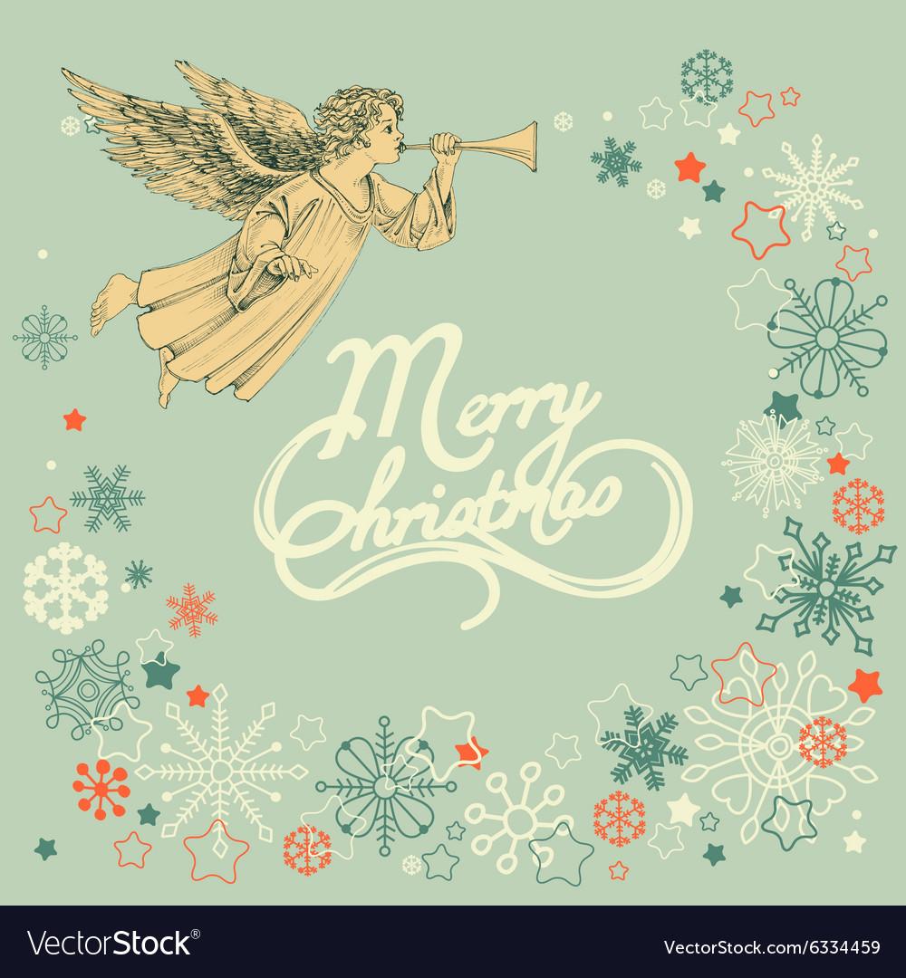 Retro christmas greeting card angel and snowflakes