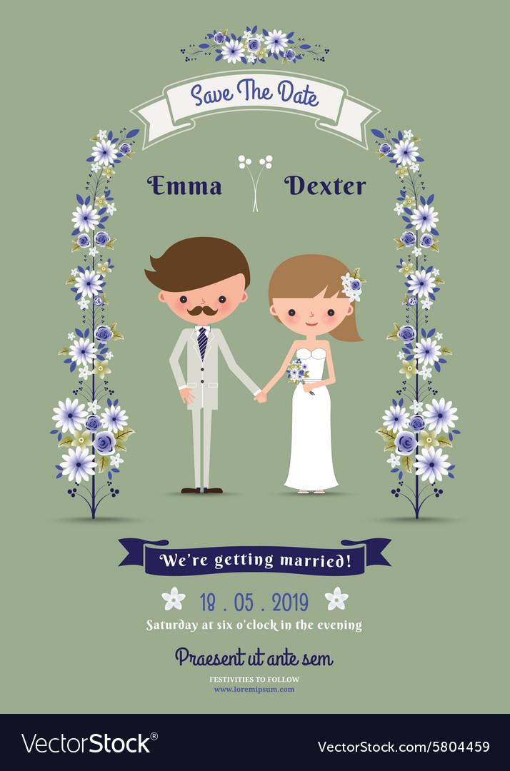 Rustic cartoon couple wedding card