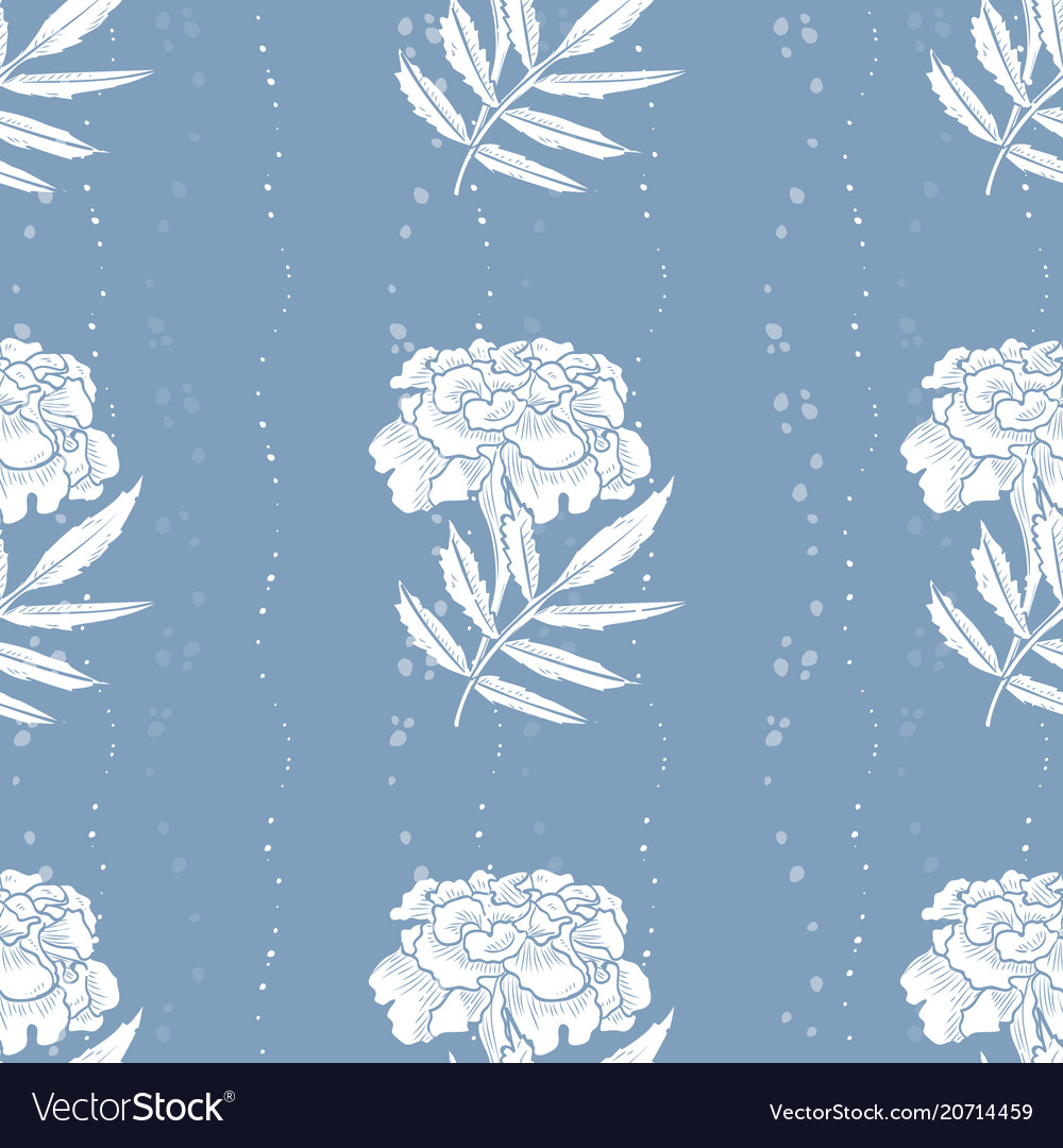 Seamless Pattern Of Marigold Flowers Royalty Free Vector