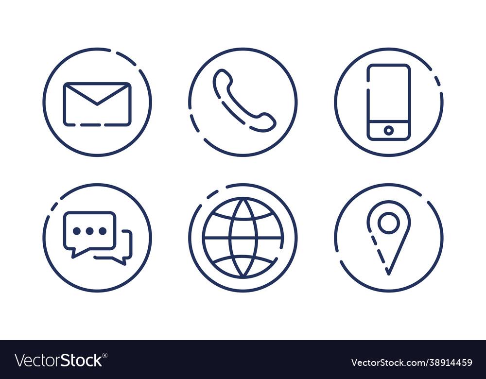 Set minimalistic contact us icons on white