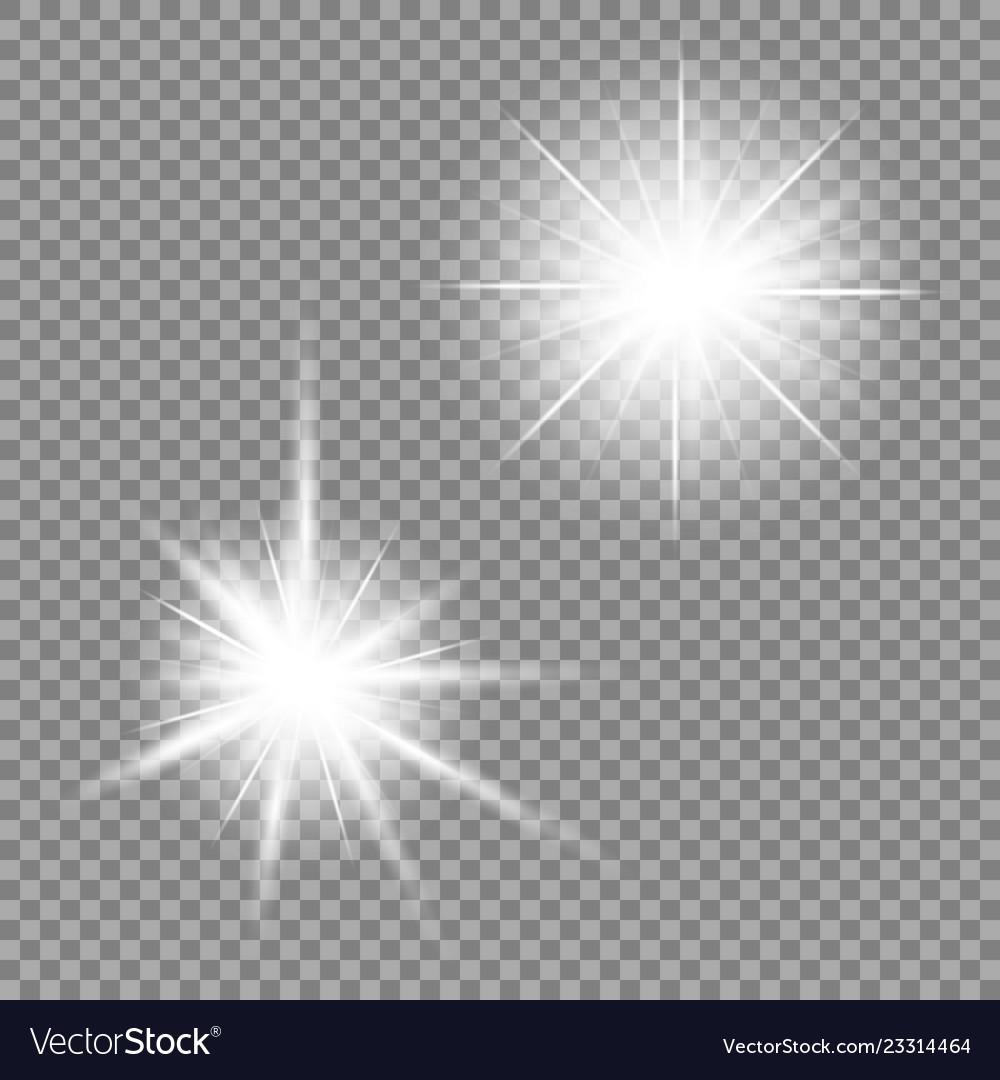Bright light glare on a transparent background