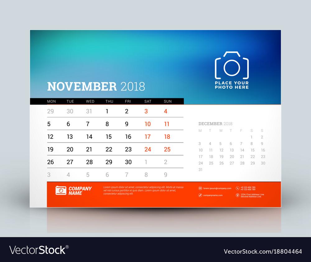 Calendar Design Template November 2018 Place For Vector Image