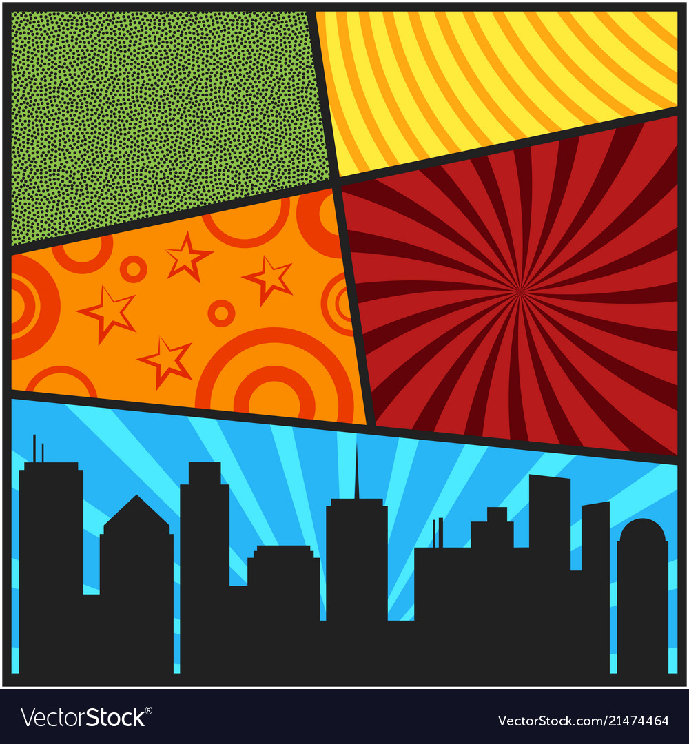 Pop art comic page cover templates with city