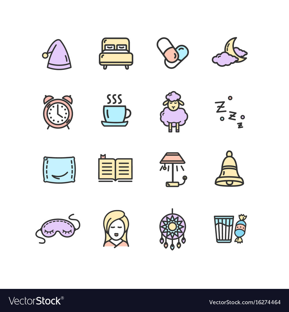 Sleeping and insomnia color thin line icon set