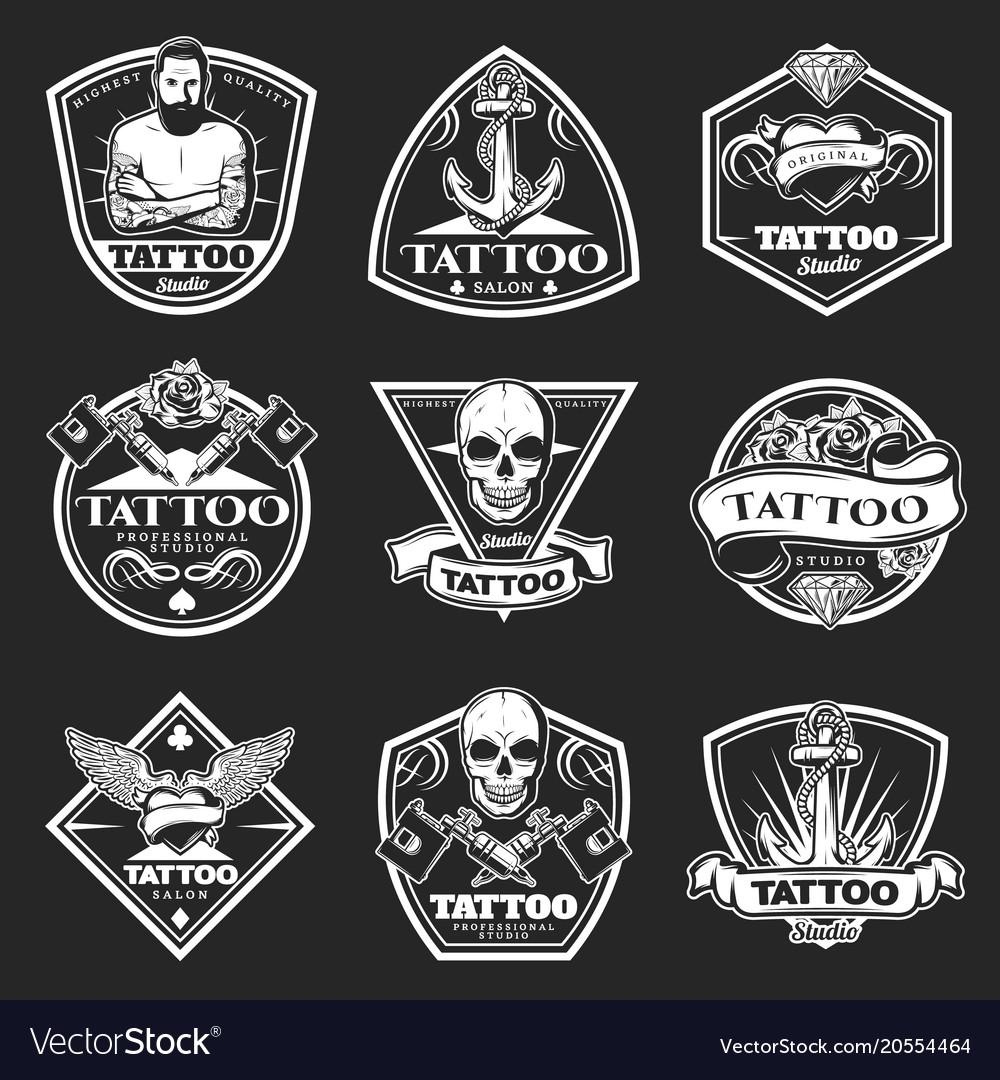 Vintage tattoo studio logos set