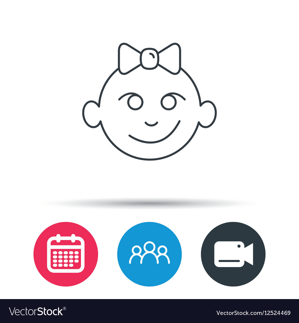 Baby girl face icon Child with smile sign