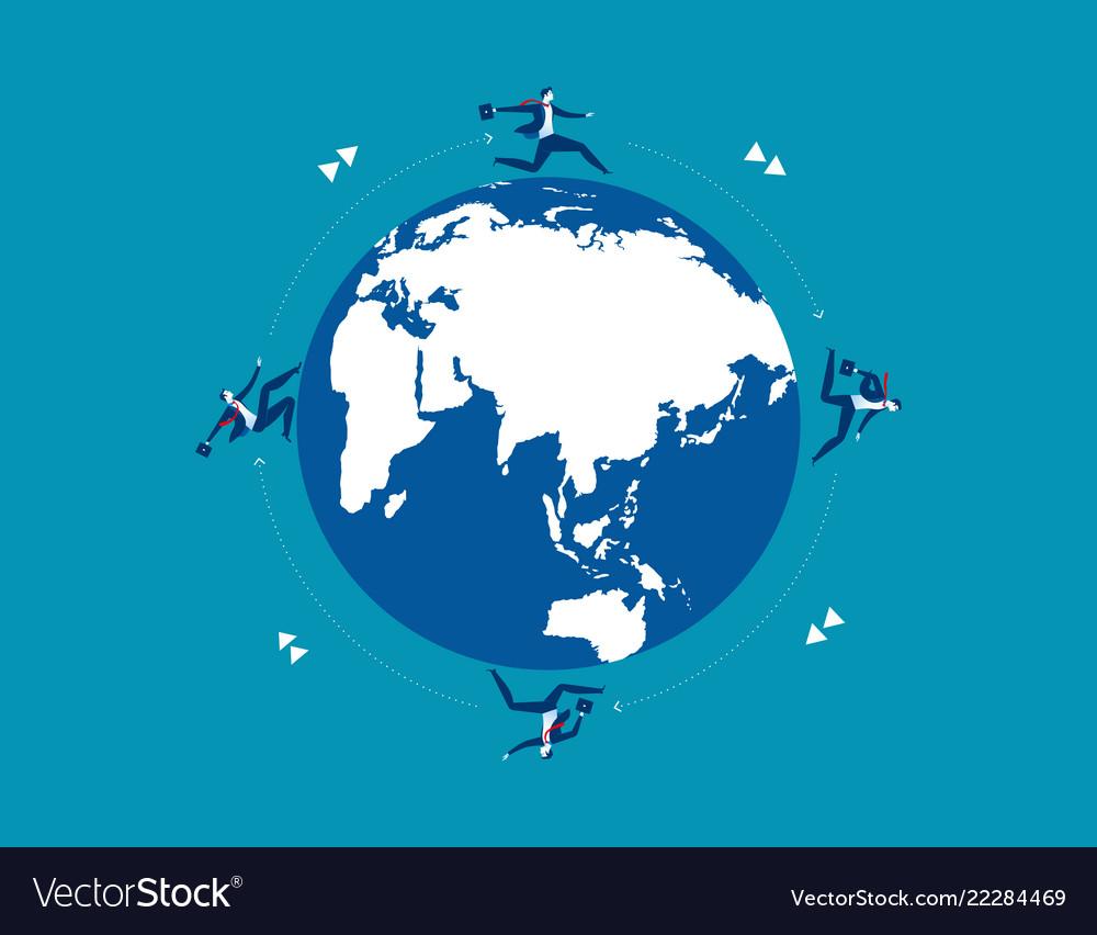 Businessman team running on globe for success