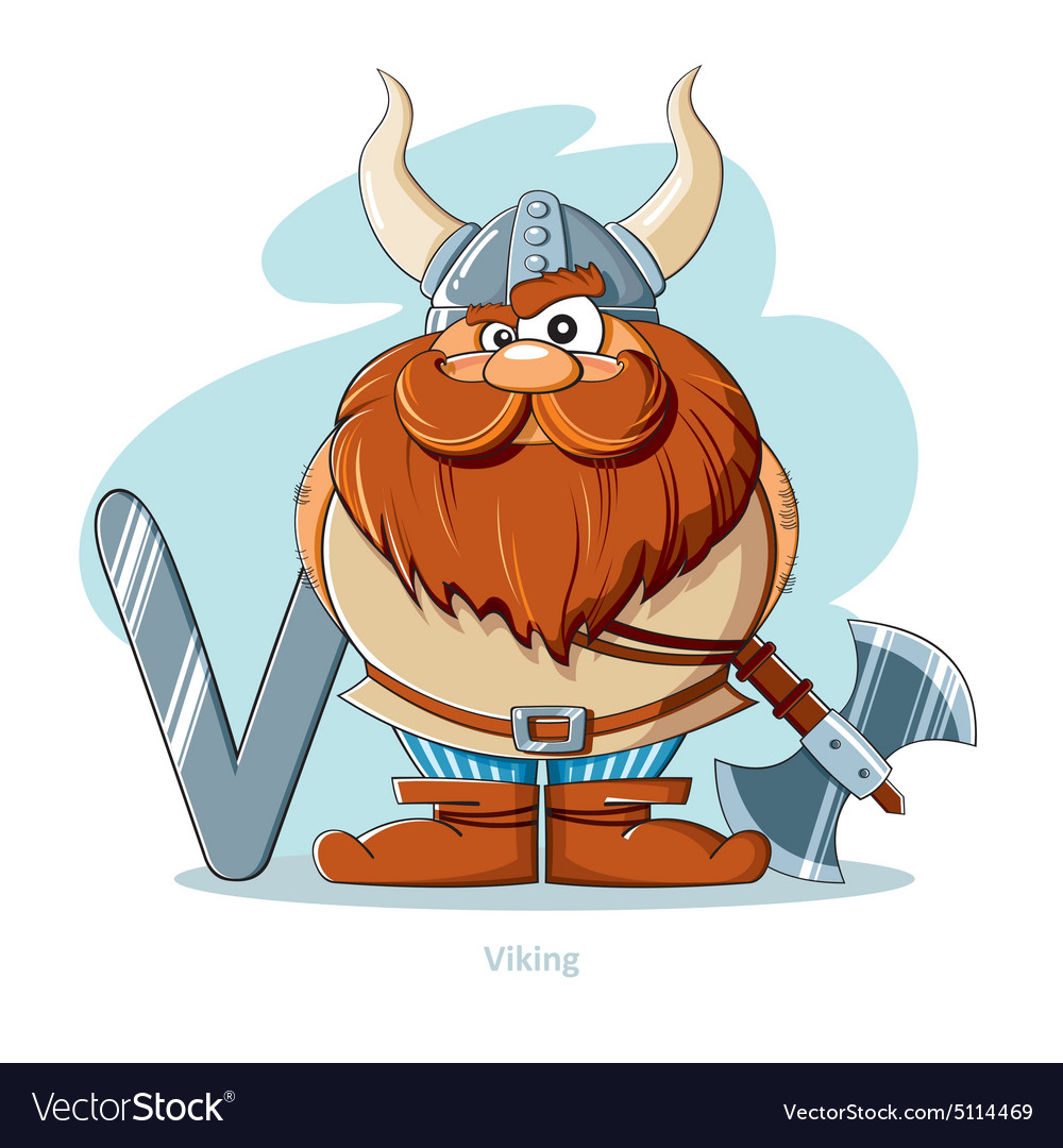 Cartoons Alphabet Letter V With Funny Viking Vector Image