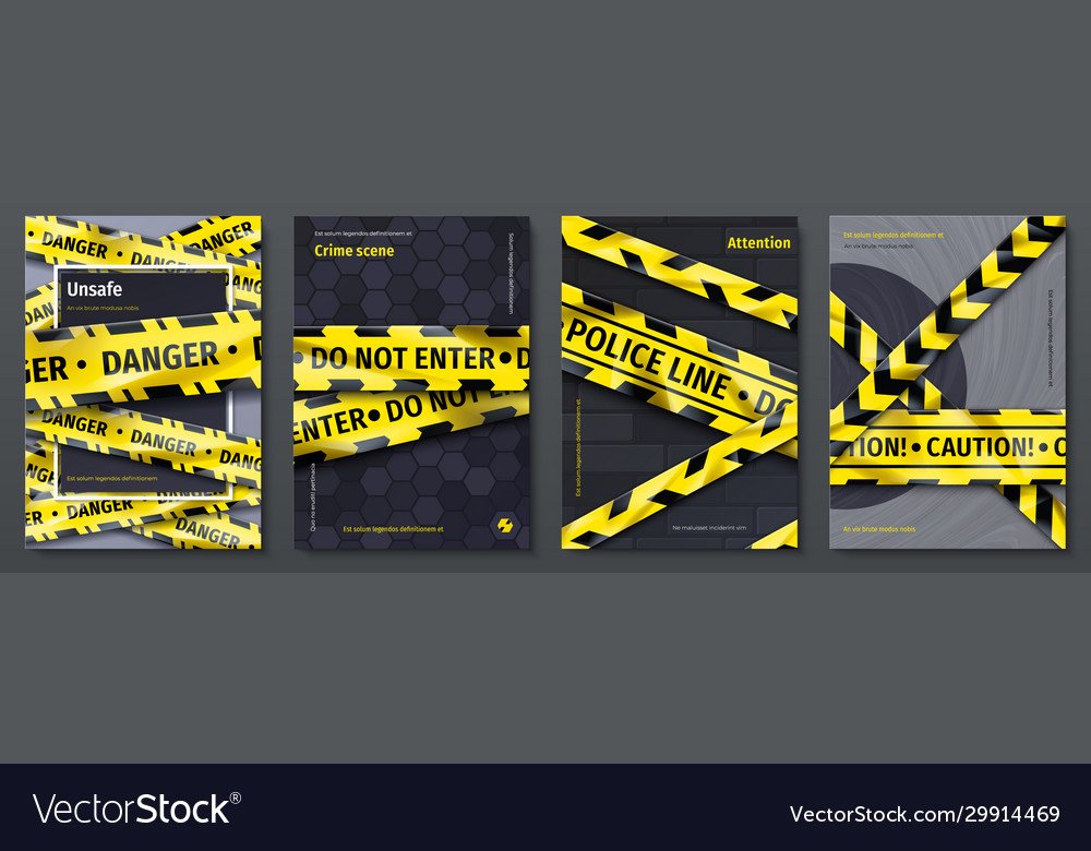 Caution tape posters set banners with yellow