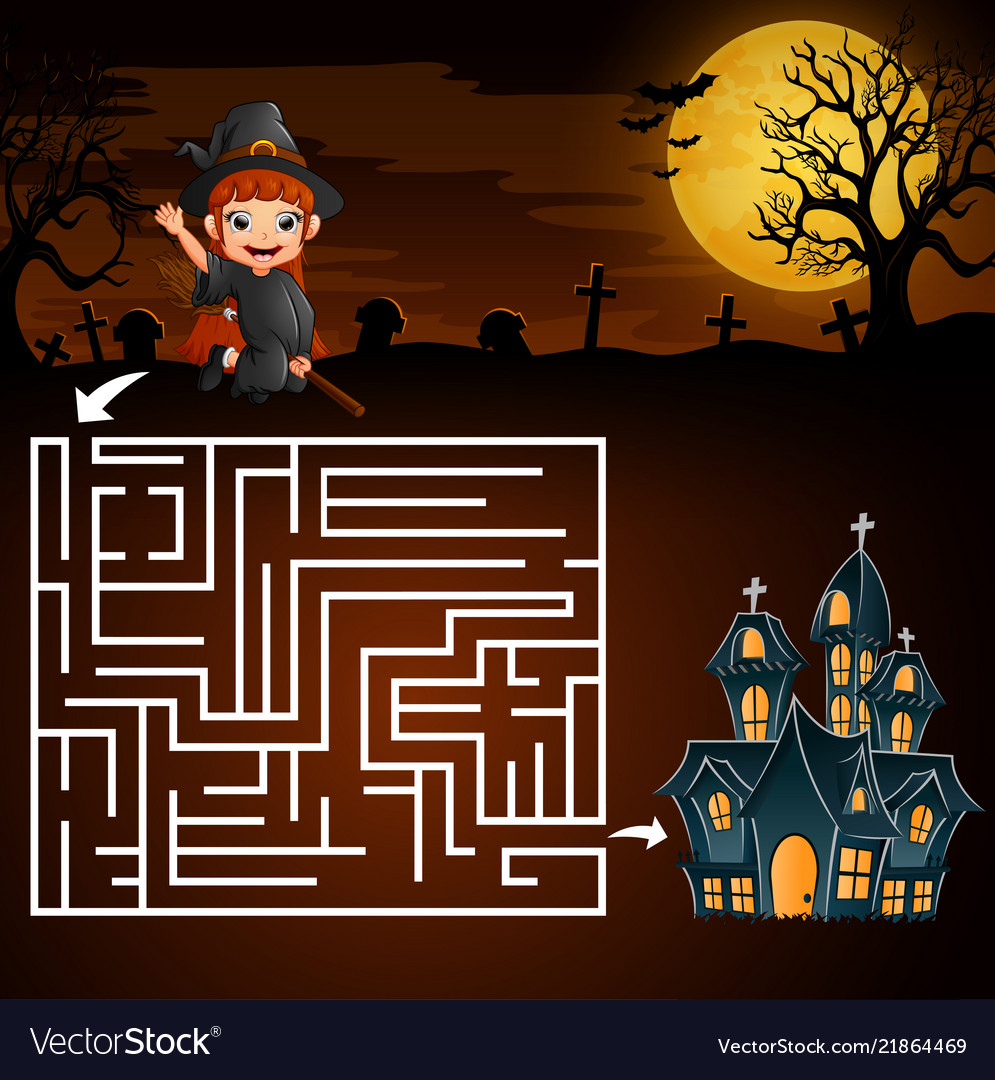 halloween maze games find the girl witch to the gh vector image
