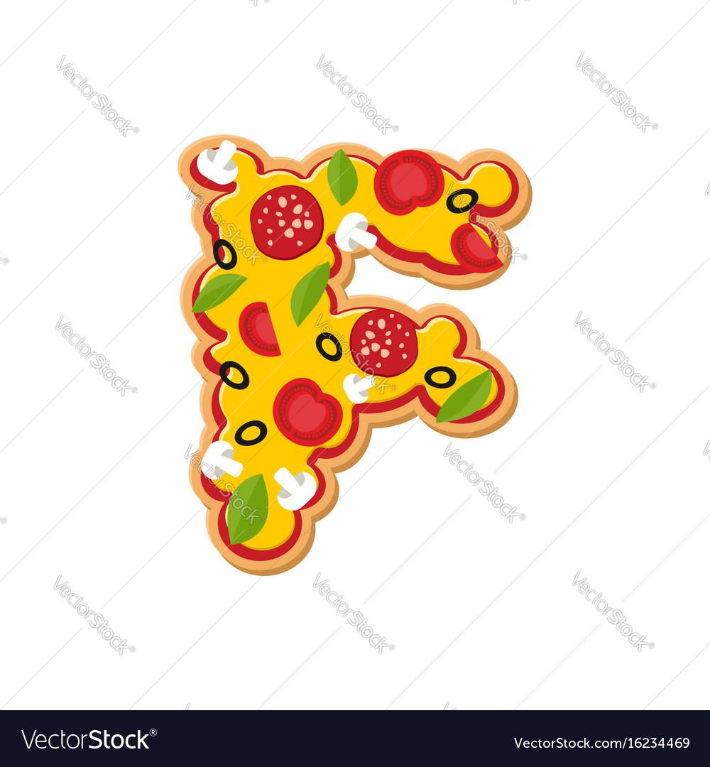 Letter f pizza font italian meal alphabet vector image