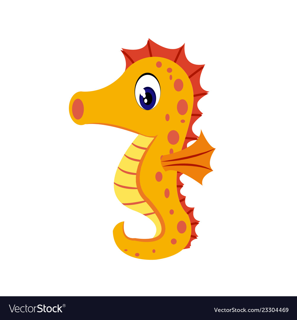 Seahorse Cartoon Or Seahorse Clipart Cartoon Vector Image