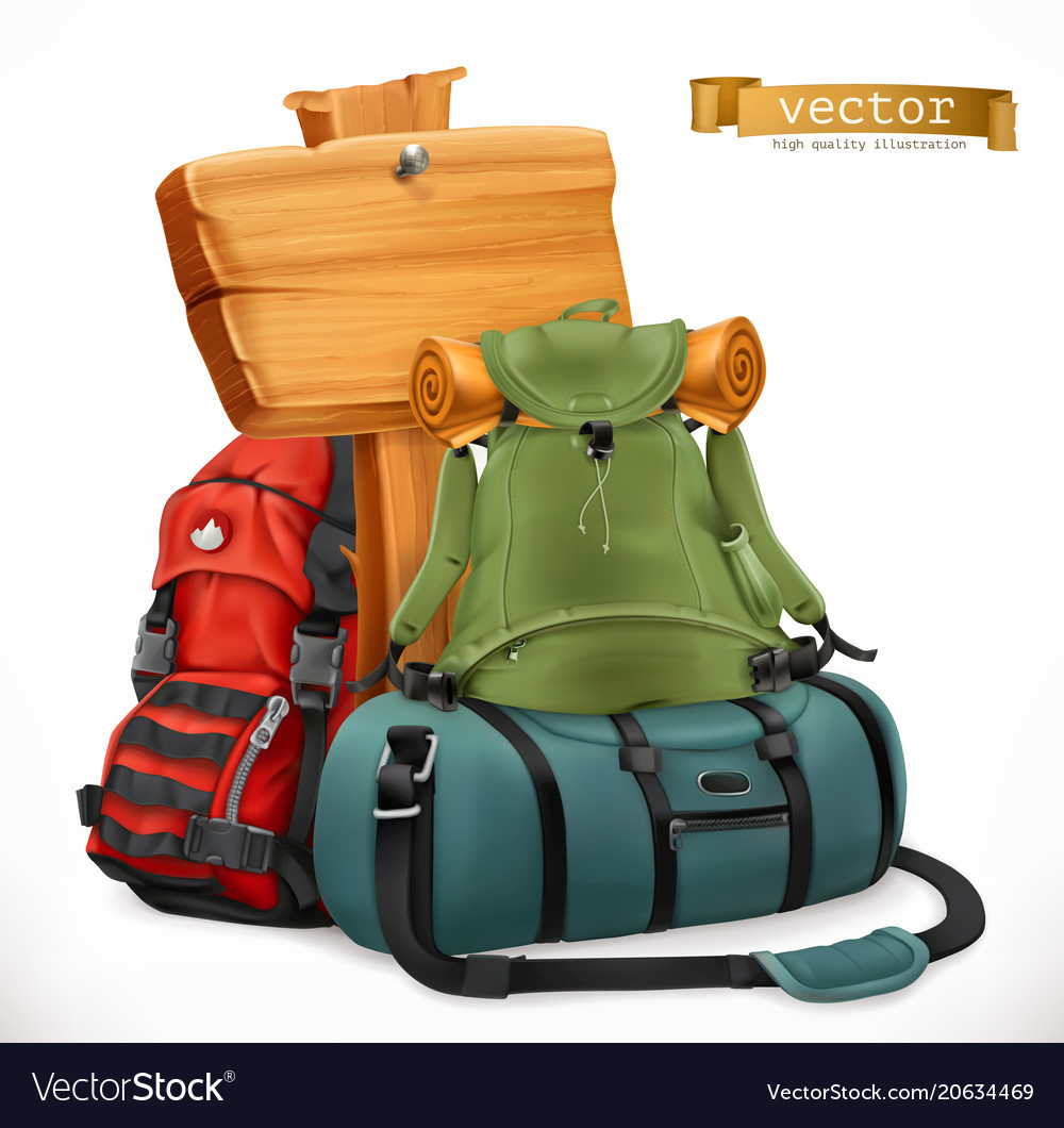 Tourist backpack and bag travel 3d icon
