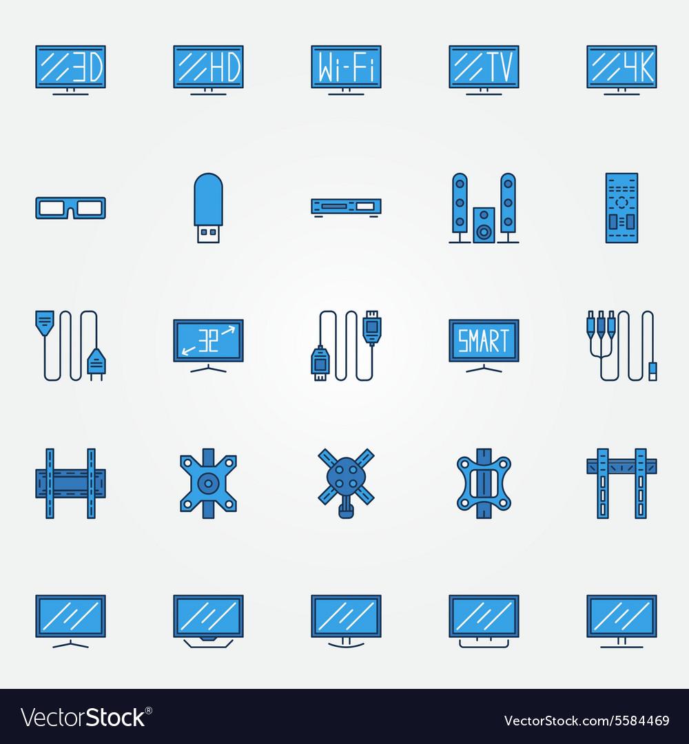 TV blue icons set