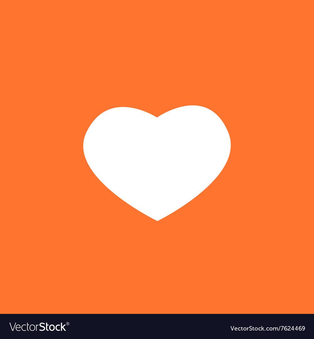 White valentines heart on a orange background vector image