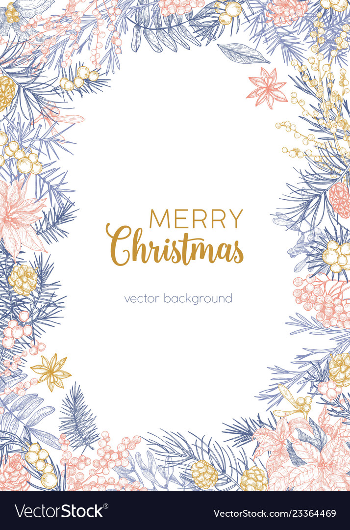 Winter backdrop decorated by merry christmas wish