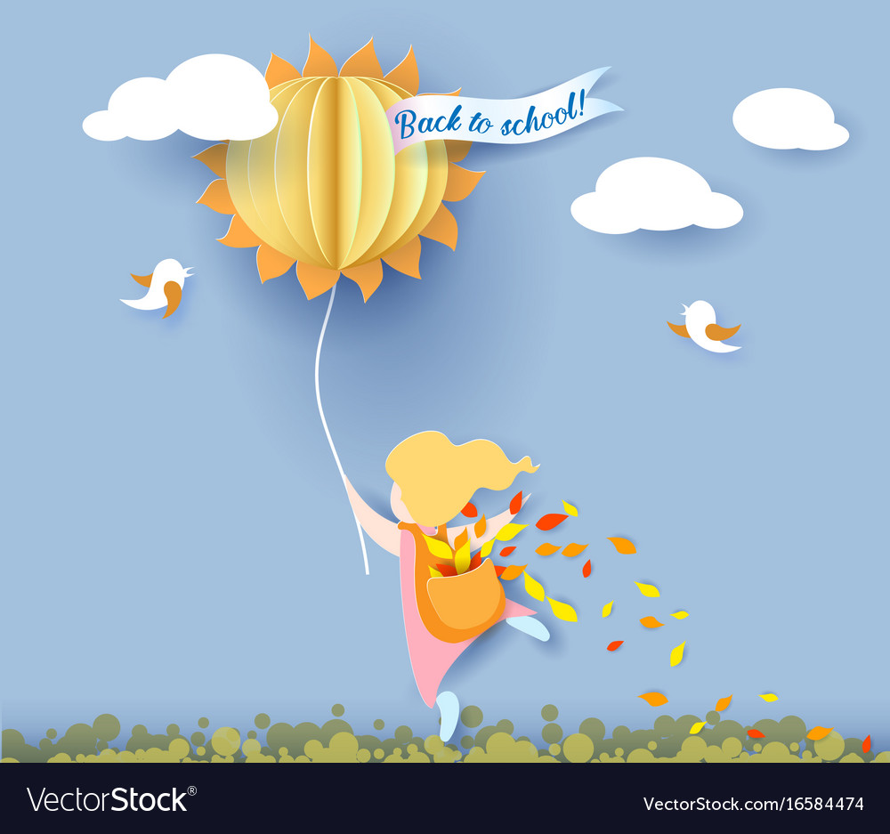 Back to school card with girl leaves and sun vector image