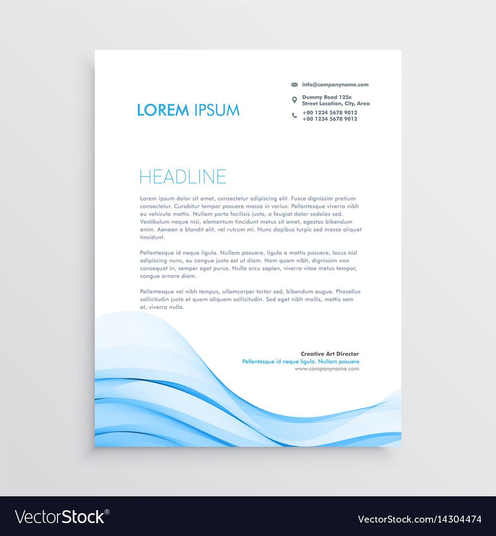 Blue letterhead design in wave style