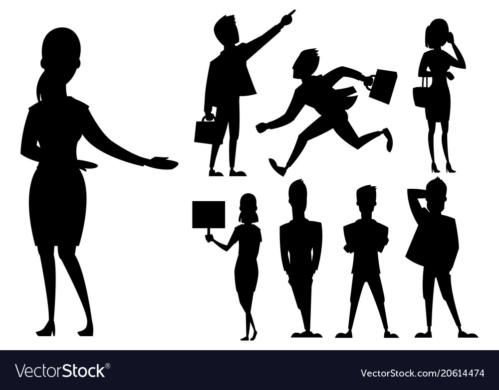 Business people man and woman black silhouette