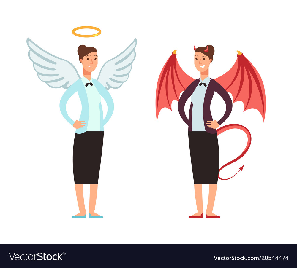 Businesswoman in angel and devil suit good and
