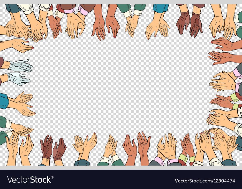 Clap hands frame a business concept applause