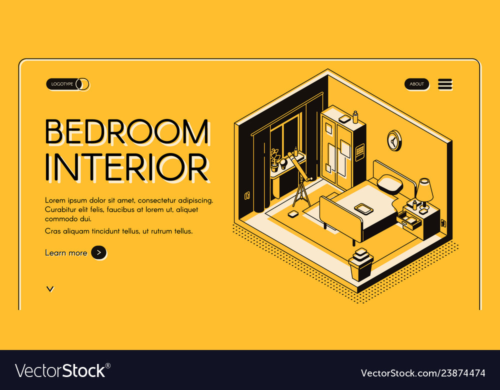 Cozy bedroom interior isometric website