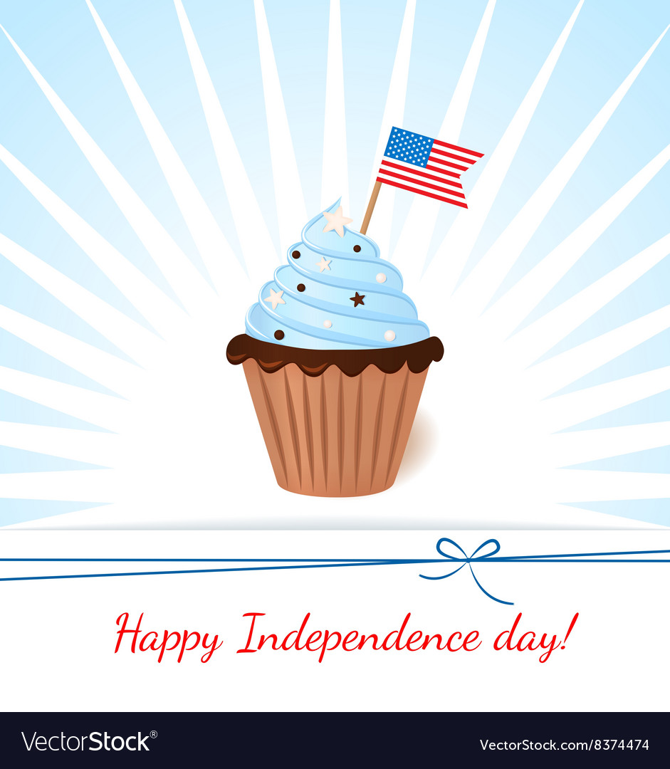 Greeting card with flag American patriotic cupcake