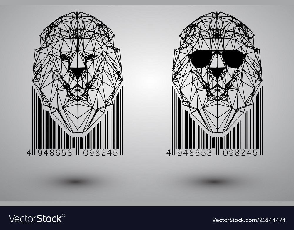 Head lion from triangles
