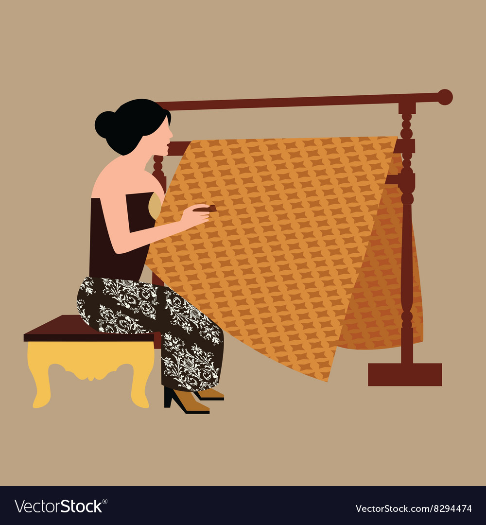 Javanese woman girl drawing create batikholding