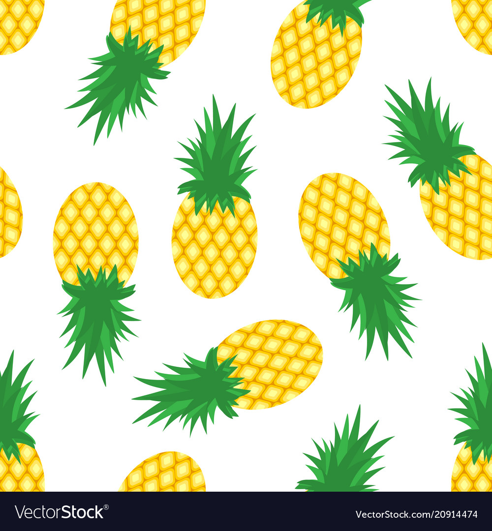 Pineapples and slices of pineapples on white
