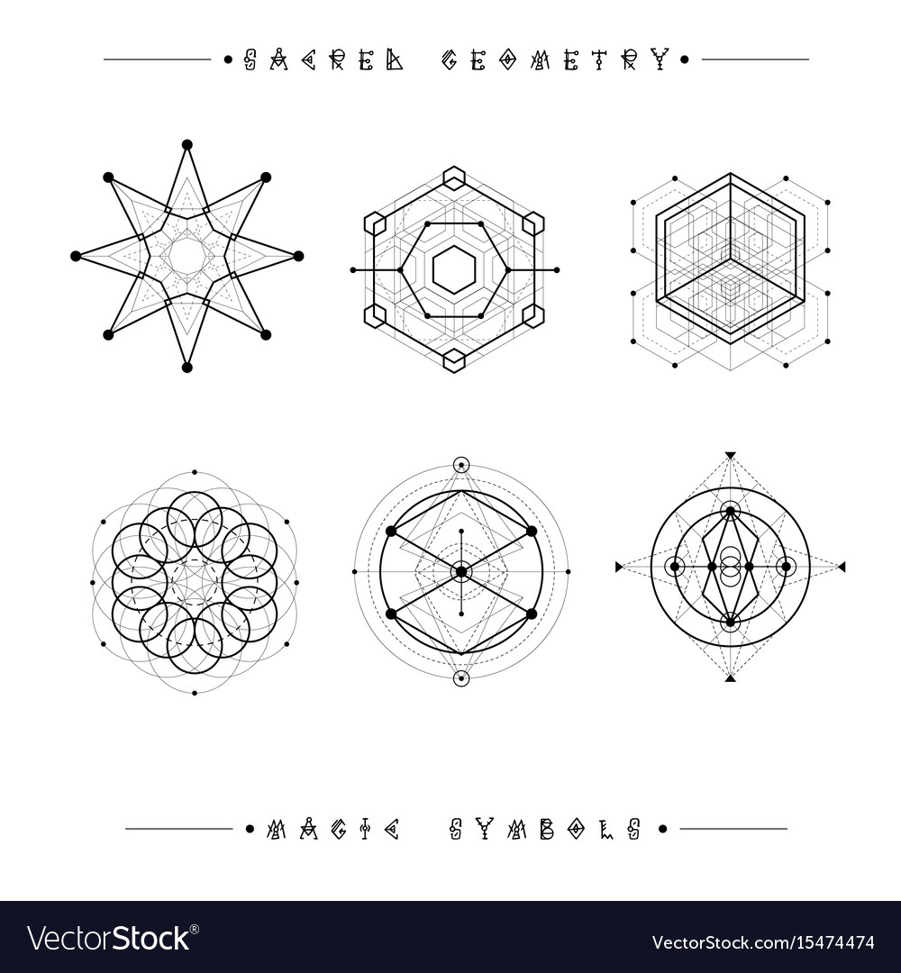 Set Of Symbols And Elements Alchemy Religion Vector Image