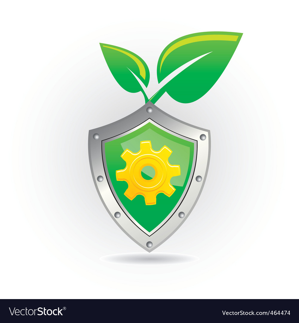 Shield with leaf icon vector image
