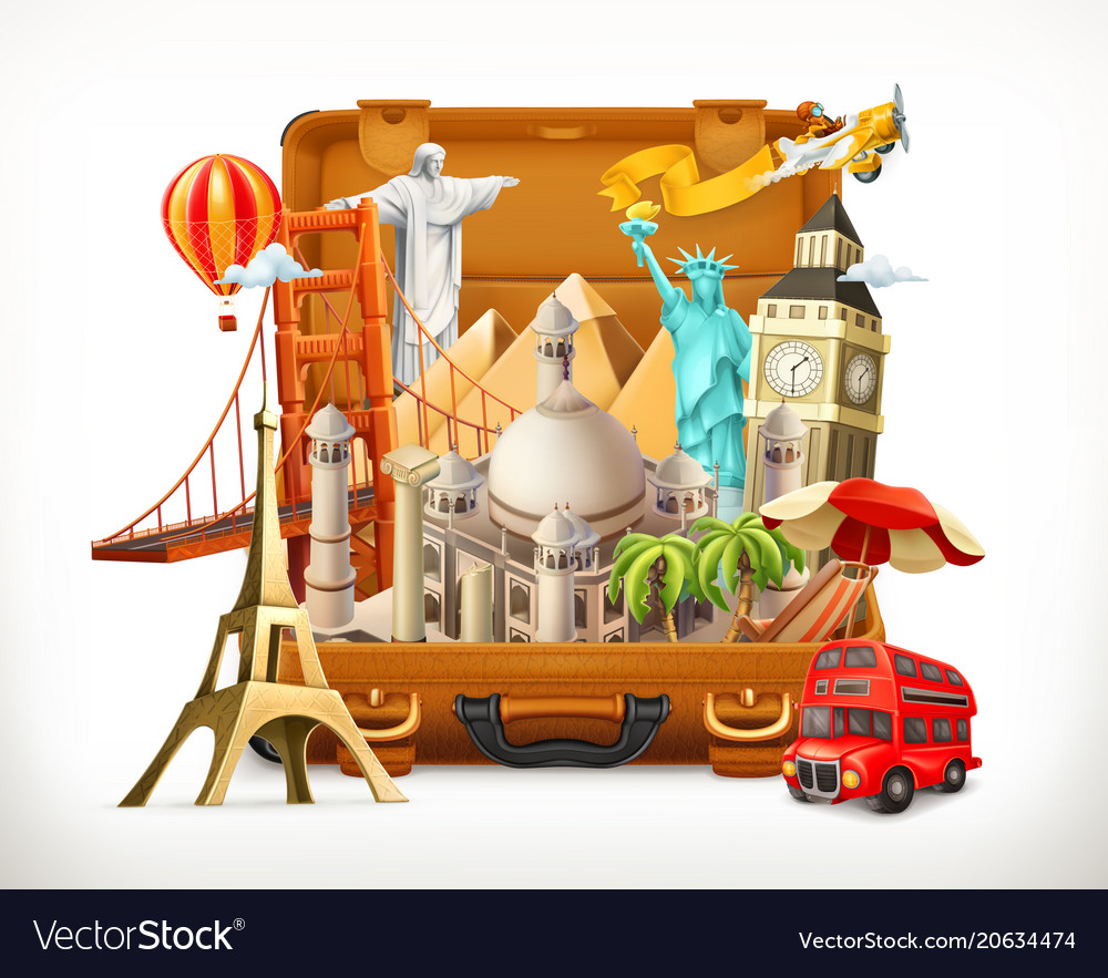 Travel tourist attraction in suitcase 3d