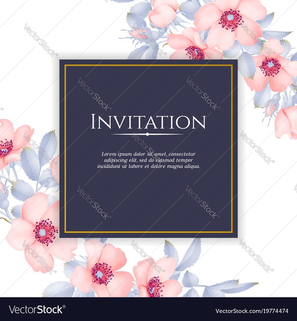 Wedding invitation with wild rose flowers