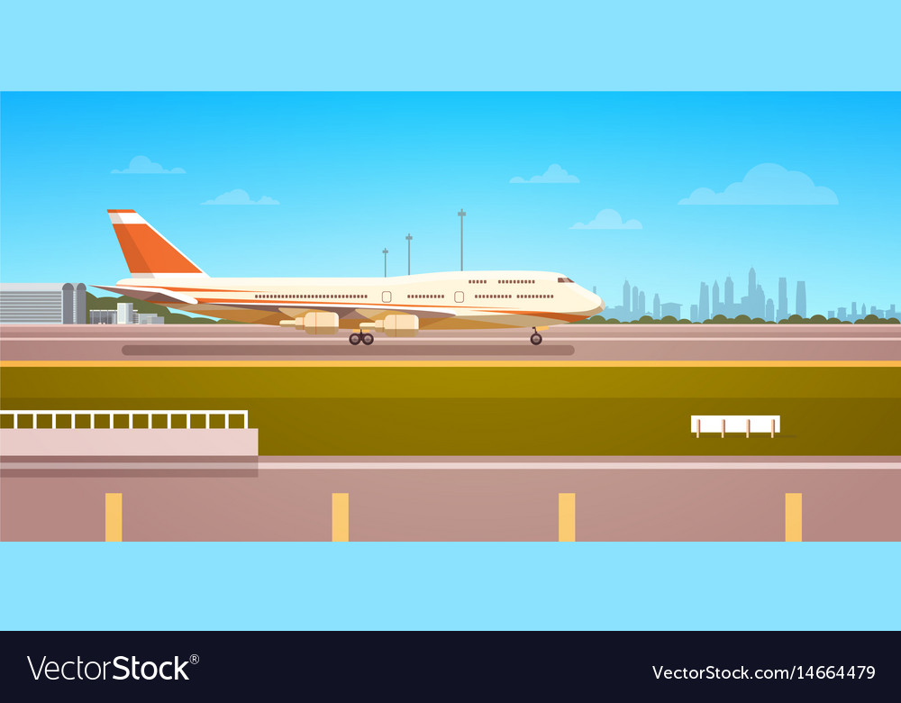 Airport terminal with aircraft flying plane taking
