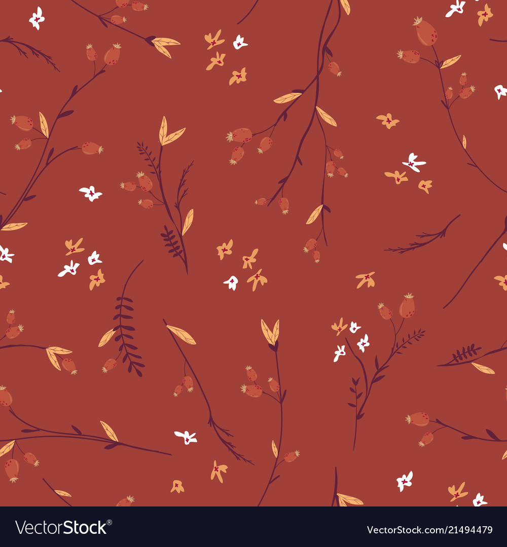 Autumn floral seamless pattern with leaves