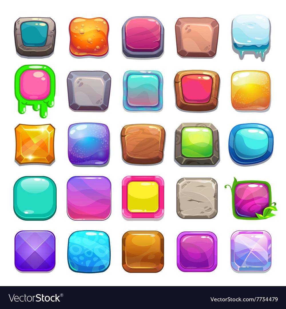 Big set of cartoon square buttons