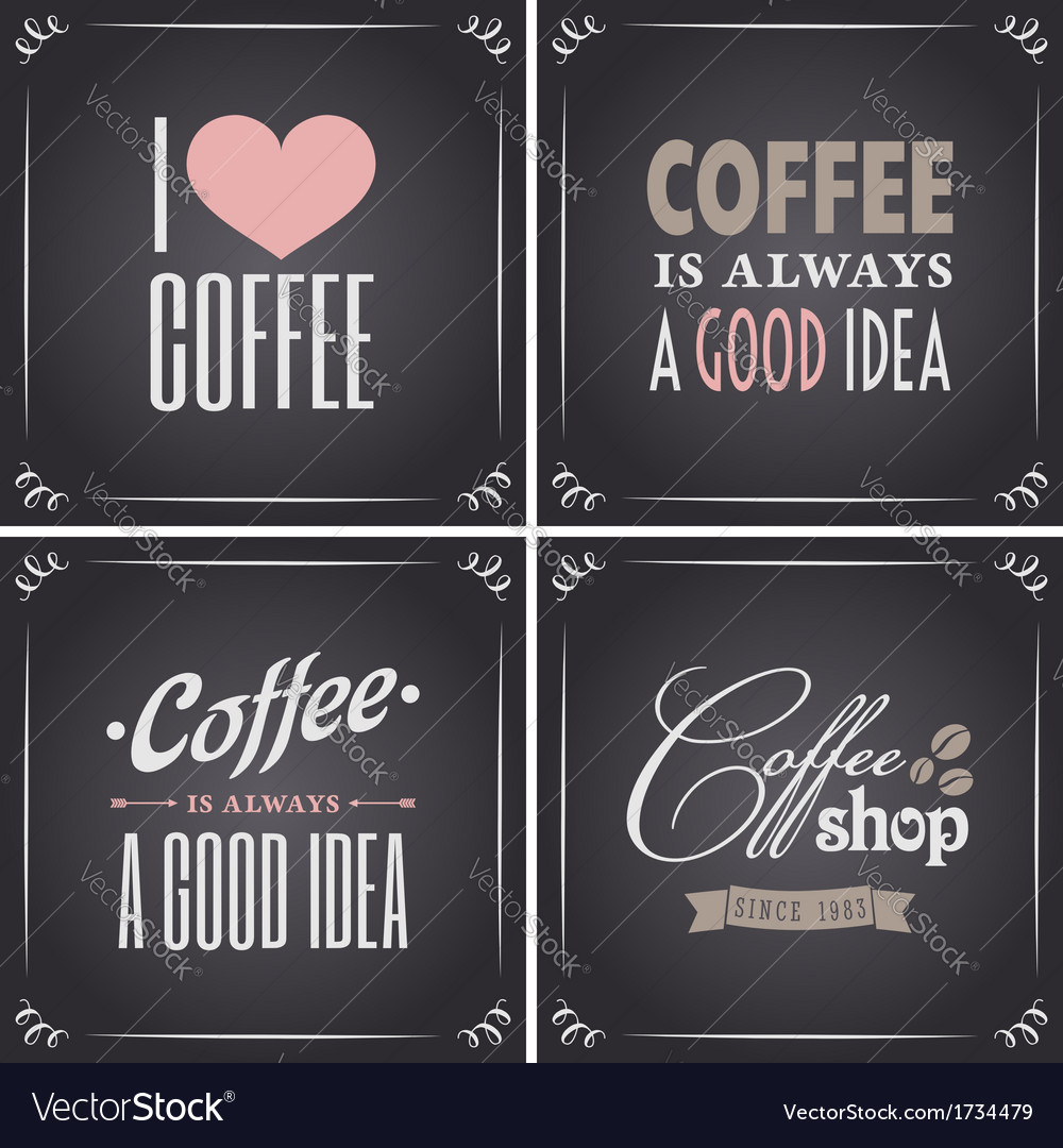 Chalkboard retro style coffee designs collection