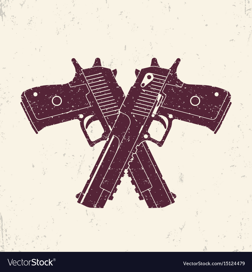 Crossed powerful pistols two handguns