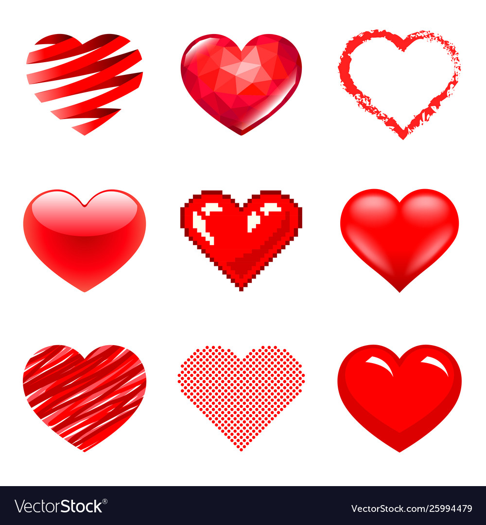 Different hearts icons photo realistic set