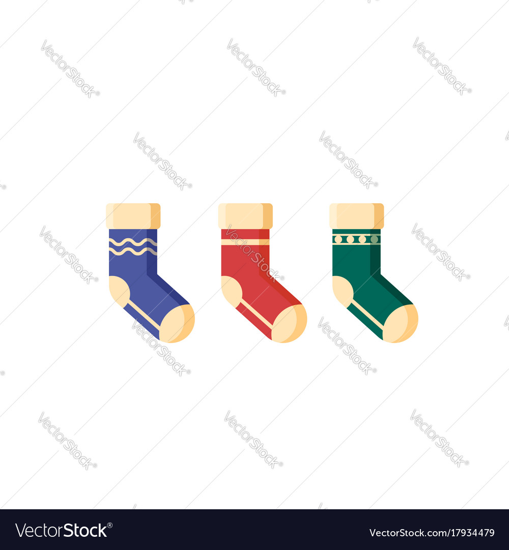 Flat christmas socks for presents isolated on vector image