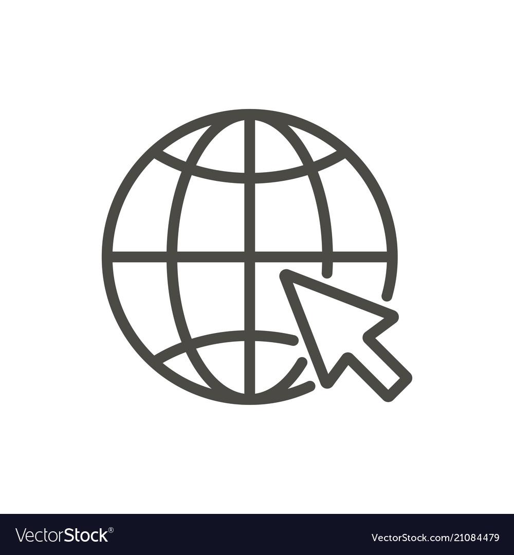 Go to web icon line website symbol