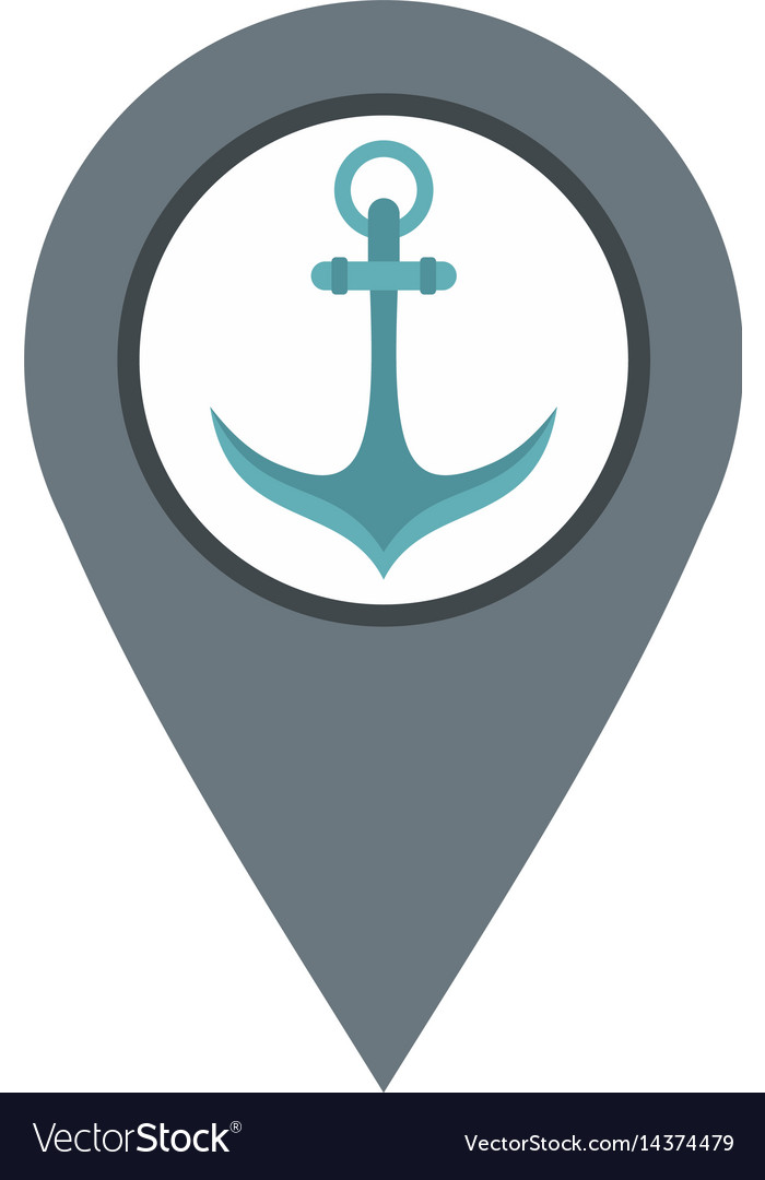 Gray map pointer with anchor symbol icon isolated